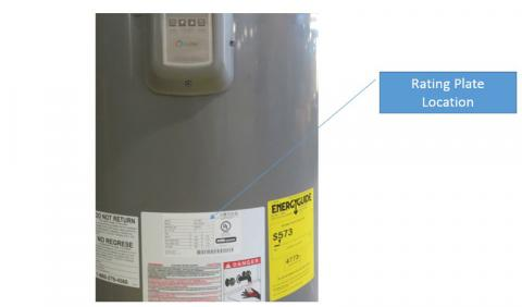 recalled rheem brand performance platinum electric water heater the rating plate is located near the bottom of the unit