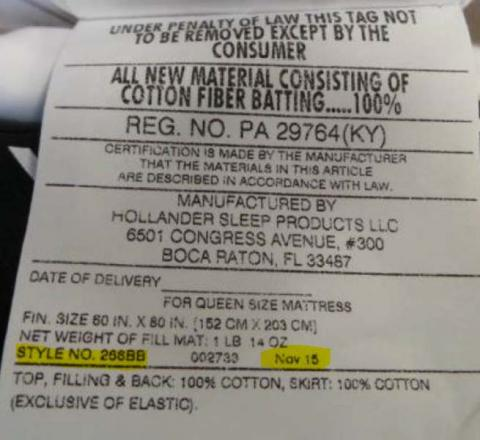 Hollander Sleep Products, style number 266BB and the manufacture date are printed on a label on a side of the mattress pad.