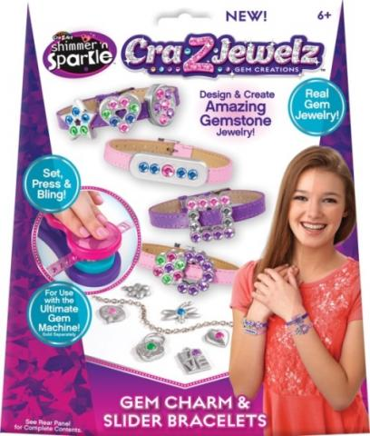 Shimmer N' Sparkle Cra-Z-Art Cra-Z-Jewelz Gem Charm and Slider Bracelets (UPC #884920174849)