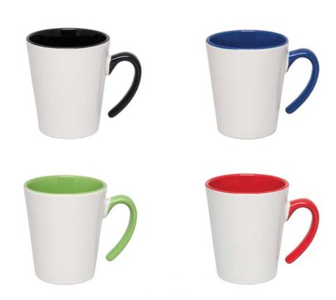 Four models of Tonal Thirst ceramic mugs