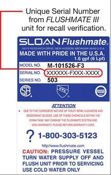 Flushmate Expands Recall Of Flushmate Iii Pressure Assisted Flushing