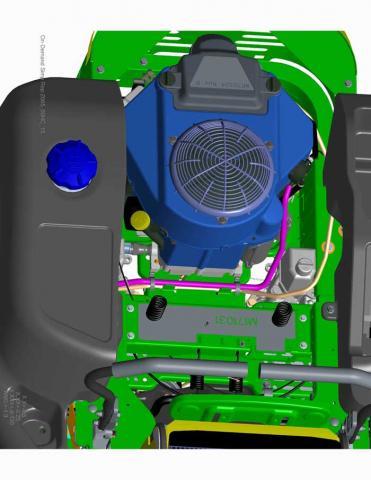 John Deere Zero Turn Lawn Mower Fuel Hose Highlighted In Purple