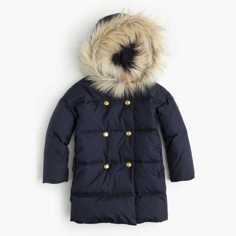 J. Crew Girls Puffer Coat in navy (blue)