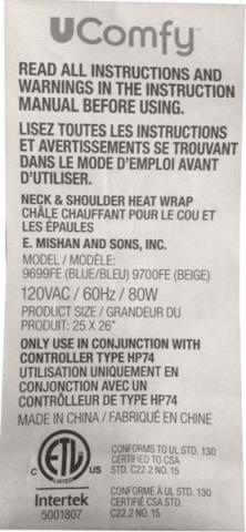UComfy label on heat wrap