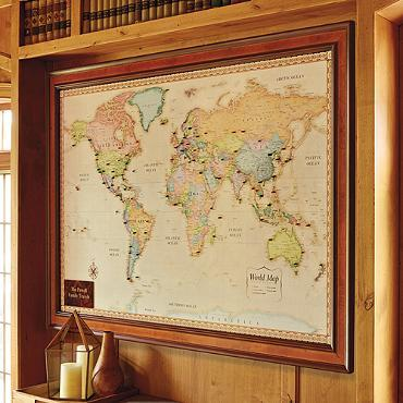 World Magnetic Travel Map with Burlwood Frame