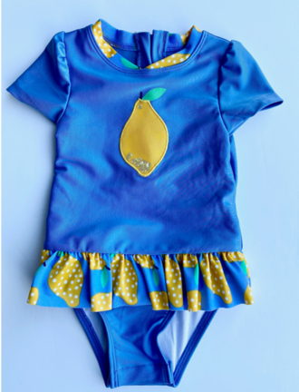 "Recalled Cat & Jack ""Summer Blue Lemon"" One-Piece Rashguard Swimsuit"