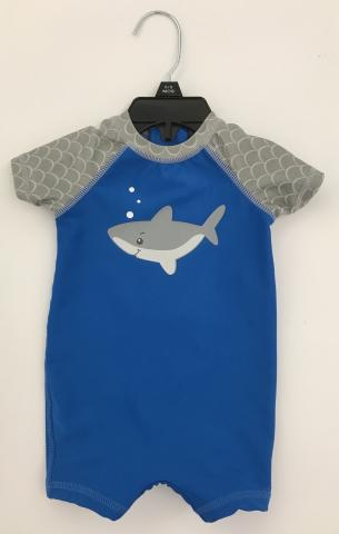 Recalled blue and gray with shark Wave Zone Zip Swimsuit