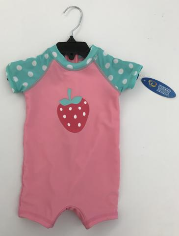Recalled pink and teal with a strawberry Wave Zone Zip Swimsuit