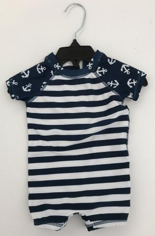 Recalled white and navy stripes anchor pattern Wave Zone Zip Swimsuit