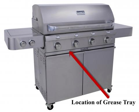 Recalled Saber Grill & location of grease tray