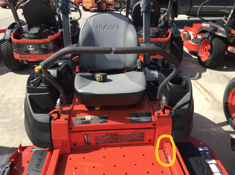 Recalled Kubota Z700 Zero Turn Mower tag location