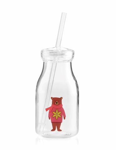Crate and Barrel Holiday Bear Acrylic Milk Bottle