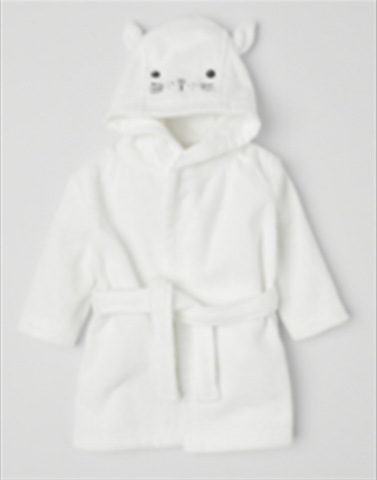 Recalled white cat children's hooded bathrobe.