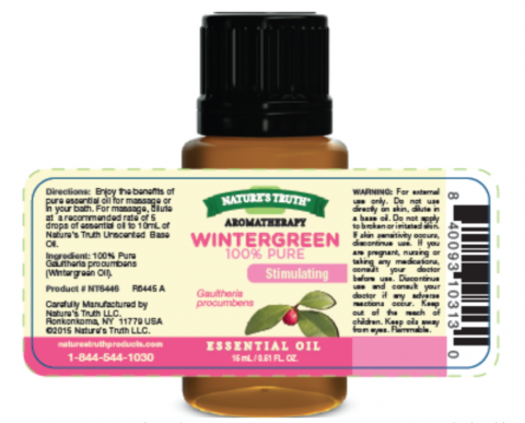 Nature's Truth wintergreen 100% pure essential oil – label