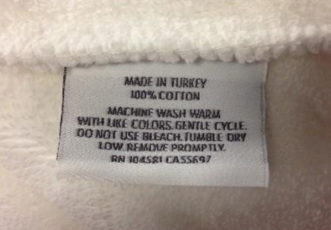 RH recalled robe label