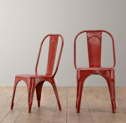 Vintage Steel Play Chair and Tall Play Chair in Distressed Red