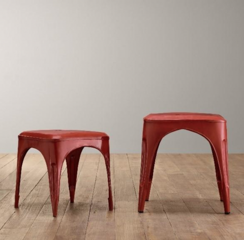 Vintage Steel Play Stool and Tall Play Stool in Distressed Red