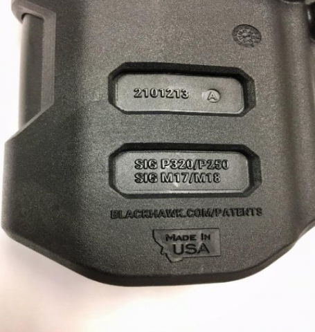 "Recalled gun holster marking ""2101213 A"""