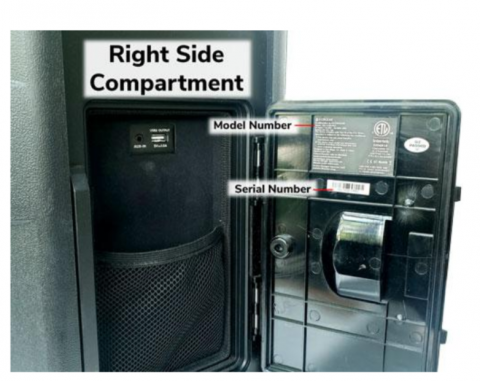 Recalled EcoBoulder Model GDI-EXBM900 series storage compartment location