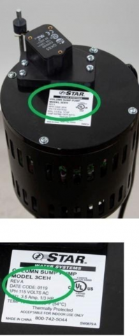 Recalled Star Water Systems sump pump and manufacture label