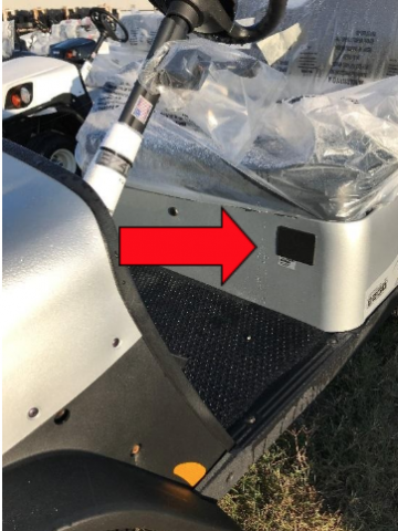 Recalled specialized vehicle with red arrow marking the serial number's location