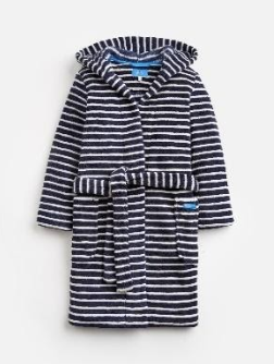 203219-FRNVSTRP White and navy blue striped robe  100% polyester XS, S, M, L