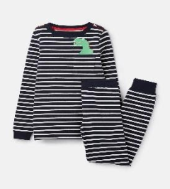 205681-NVCRMPKTDN Navy and white striped pajama with dinosaur motif  96% cotton 4% elastane 1 through 12