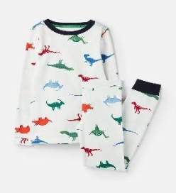 205681-WHITEDINO White pajama with dinosaur print  96% cotton 4% elastane 1 through 12