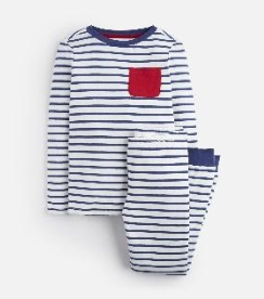 Z_ODRKIPWLL-CREMBLUSTP Blue and white striped pajama with red pocket  97% cotton 3% elastane 1 through 12