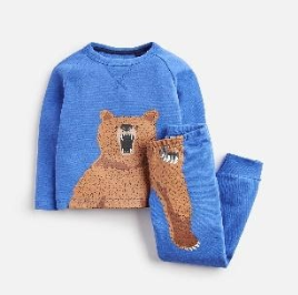 Z_ODRKIPWLL-DAZZBLU Blue pajama with bear motif  97% cotton 3% elastane 1 through 12