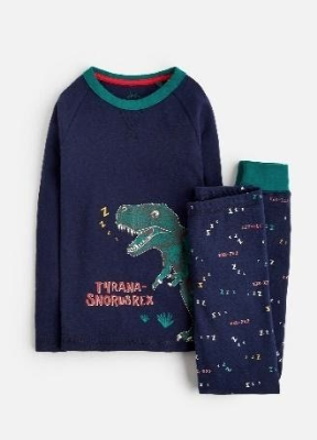 Z_ODRSNOOZE-FNVZREX Navy pajama with dinosaur image  97% cotton 3% elastane 1 through 12