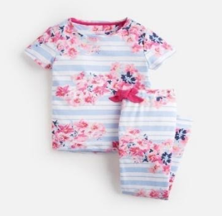 203150-BLUSTRFLRL Blue and white striped pajama with floral print  97% cotton 3% elastane 1 through 12