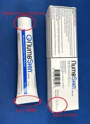 Recalled NumbSkin pain relief cream