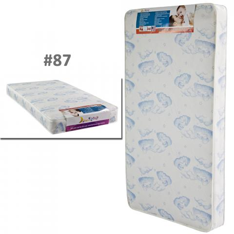 "Sweet Dreams 6"" 88 coil spring crib and toddler bed mattress in white with blue clouds"