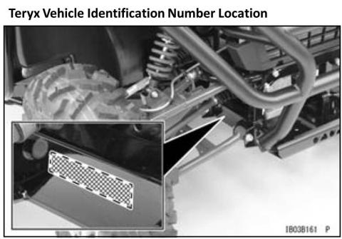 Teryx vehicle identification number (VIN) location