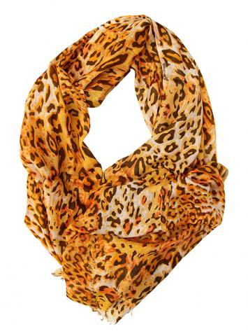 Yellow Gold Leopard Print Infinity Scarf – Summer Scarves for Women & Girls