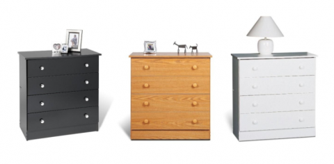 Recalled Prepac 4-drawer chests in black, oak and white finishes