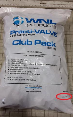 Location of the lot number on Work 'N Leisure Practi-Valve 50/bag