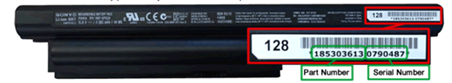 The part numbers location on the battery pack