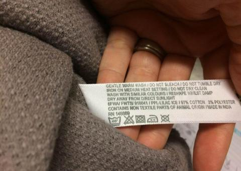 Style number on inside care label