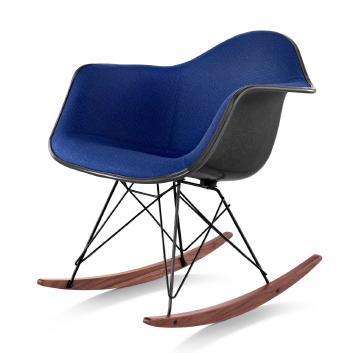 Herman Miller's Eames molded fiberglass armchair upholstered rocker