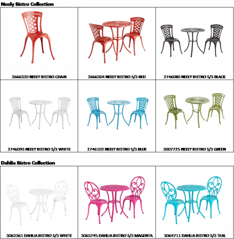 Neely Bistro Sets and Dahlia Bistro Sets