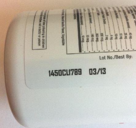 Lot Number on Bottle