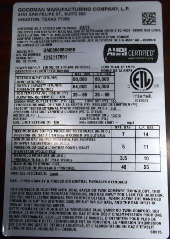 Goodman Recalls Furnaces Due To Electrical Shock Hazard