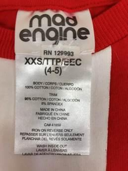 """Mad Engine"" ""RN 129993"" and the size are on the neck label."