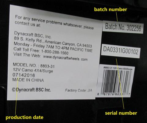 Surge 12 V Camo 4X4 model number, date code, batch and serial number label
