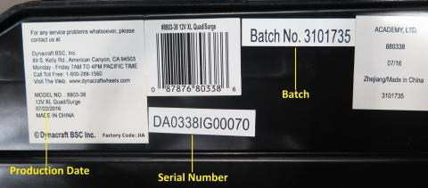 Surge 12V XL Quad model number, date code,, batch and serial number