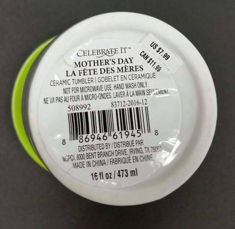 Label on the bottom of the Celebrate It ceramic travel mugs