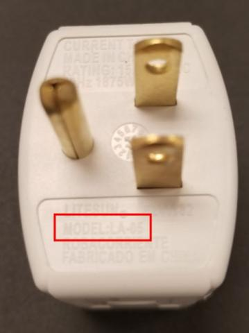 Location of model number LA-05 on the outlet converter