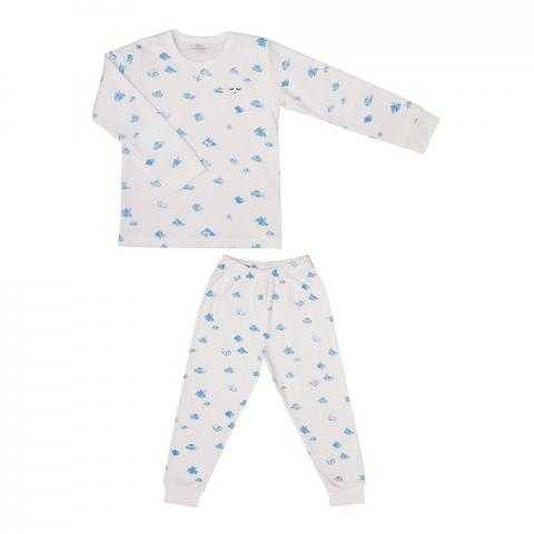 Children's two-piece pajama set in clouds print